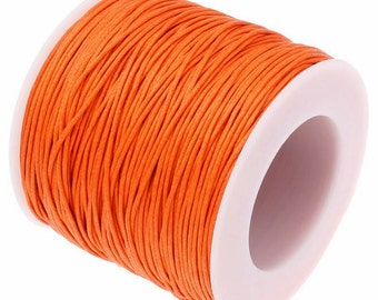 Waxed Cotton Cord : 10 yards (30 feet) Orange 1mm Waxed Cord String / Bracelet Cord / Macrame Cord / Chinese Knotting Cord / Shamballa 75459