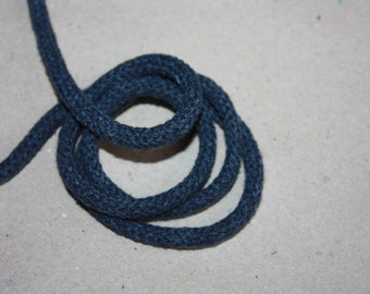 5 mm JEANS Color Cotton Rope = 7 Yards = 6.40 Meters of Elegant Cotton Braided Cord - Bulky Yarn - Super Bulky Yarn - Macrame Cotton Cord