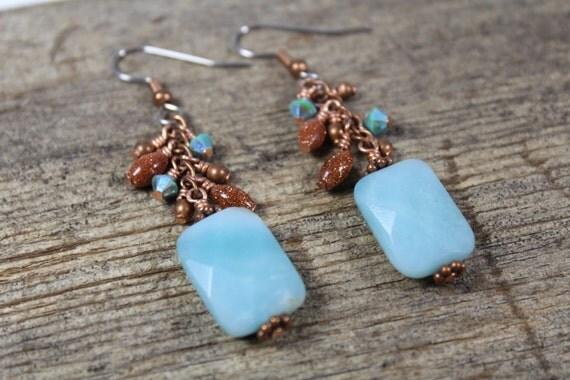 Amazonite, Goldstone, Copper, Swarovski Crystal Dangle Earrings / Chunky Jewelry / Blue Earrings / Copper Earrings / Gifts for Her / Big