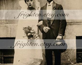 Frankenstein Art, Halloween Print, Halloween Decor, Bride and Groom, Frankenstein Wedding, Halloween Wall Art, 8x10 Print