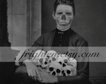 Halloween Wall Art, Skull Art Print, Black and White, Halloween Decor, Creepy Art, Skeleton Art, Horror Decor, Mixed Media Collage
