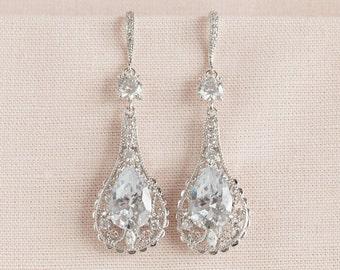 Crystal Bridal Earrings, Wedding Earrings, Long Dangle,  Swarovski, Bridal Jewelry, Elle Vintage Earrings
