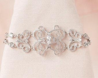 Crystal Bridal Bracelet, Crystal Wedding Bracelet, Rose gold, Vintage style Rhinestone Bracelet, Delicate, Michelle Bracelet