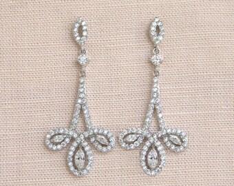 Crystal Bridal Earrings, Wedding earrings Dainty  Bridal Jewelry, Wedding jewellery, Yellow gold, Bridesmaids, Aubree Bridal Earrings