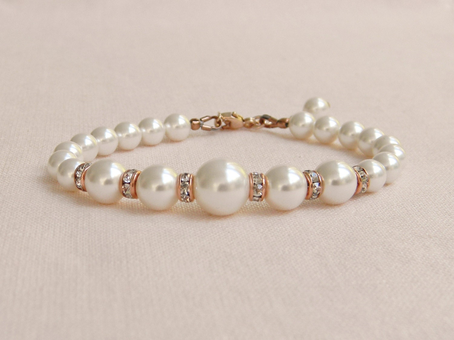 Rose Gold Bridal Bracelet Pearl Wedding Jewelry Swarovski