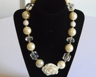 Girls Boutique Necklace Ivory and White Beads with White Rose Portraits Birthday Pageant Toddler Holiday Bubble Bead Jewelry Back to School