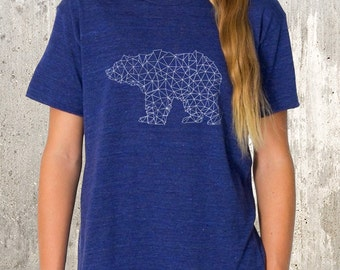 Kid's T-Shirt - Bear Made of Triangles -  TriBlend Shirt