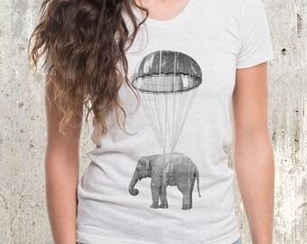 Elephant in Parachute - Women's American Apparel T-Shirt