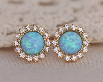 NEW Sky Blue Opal Halo Stud Earring,Gold Opal Stud Earrings,Lab Created Opal Post,Gift For Her,October Birthstone,Crystal Rhinestone Halo