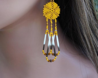 Beaded Porcupine Quill Earrings - Round Lightweight Beadwork Earrings - Seed Bead with Fringe Topaz Earrings - Marigold Yellow Earrings