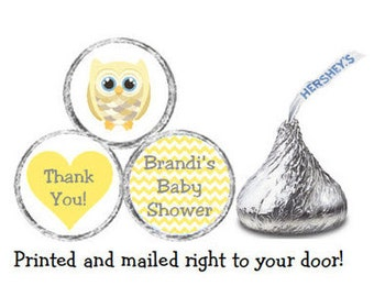 Printed 216 Baby Shower Stickers for Chocolate Kiss® candy - Yellow Owl & Chevron Personalized Labels for Party Favors