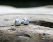 Satin Finish Puffy Rustic Weathered Heart Fine and Sterling Silver Post Earrings. Heart Silver earring studs. Weathered Heart collection.