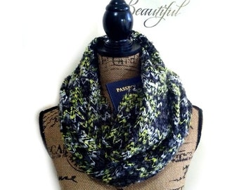 Chunky knit scarf with pocket hidden pocket, travel scarf, infinity scarf, black, yellow, grey and cream scarf