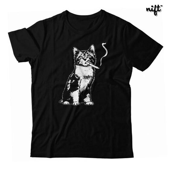 Smoking Kitty Cat UNISEX T-shirt