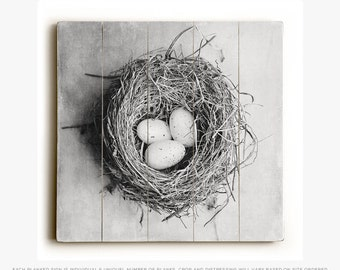 Wood Sign: Black and White Nest Wood Plank, Farmhouse, Shabby Chic Wall Art.