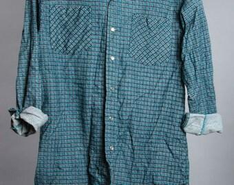 Small Vintage Flannel Mens Womens Unisex Teal Blue Black | 6BB
