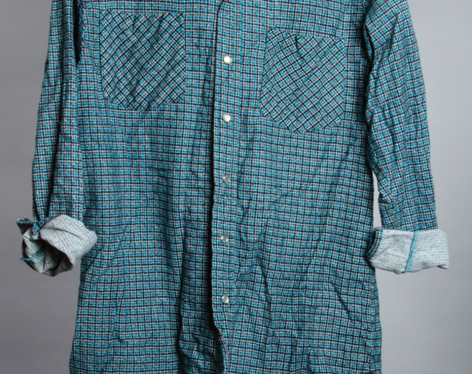 Small Vintage Flannel Mens Womens Unisex Teal Blue Black | 6BB