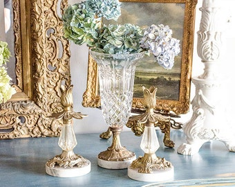 Vintage Italian Centerpiece Set of Three, Crystal Vase, Candle Holders, Brass, Marble Base