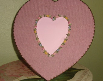 Pink Ribbon ROSES HEART Photo Frame French Cottage Chic Gold Metallic Net Lace Vintage Home Decor