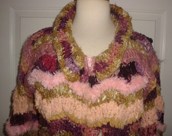 "Vtg NORMA Canada Handknit Novelty SWEATER Pinks Violets ""Wearable Art"" Cardigan Jacket M/L"