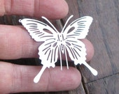4 Stainless Steel Butterfly Charms in Silver Tone - C2341