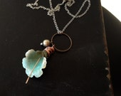 Patina Calla Lily Mixed Metal Necklace- Copper, Pewter and Brass