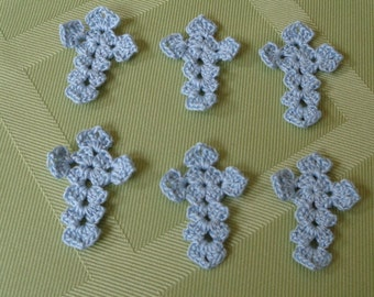 6 Crocheted Applique Crosses in Blue