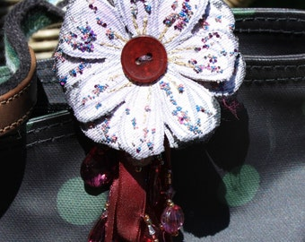 Fabric Flower bag decoration, Bag Charm