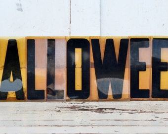 "Vintage Halloween Sign Marquee Word Letters Plastic Black Yellow Orange 9"" Acrylic Aged Patina Wall Window Hanging Fall Decoration"
