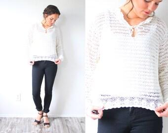 Vintage boho long sleeve crochet sweater blouse // crochet sweater top // festival floral top // boho summer festival hippie crochet blouse