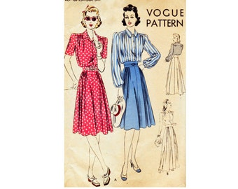 1940s Dress with inset wide waist Evening Length or day dress Vogue Sewing Pattern 8715 Bust 34 Size 16 rockabilly fashion Vintage Pattern