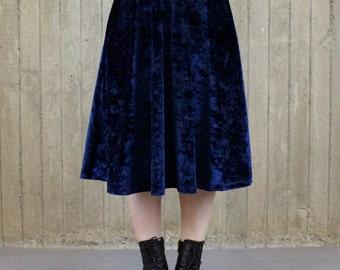 Water Mystic Navy Blue Velvet Midi Skirt (made to order)