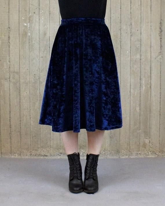 water mystic navy blue velvet midi skirt made to order