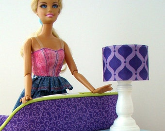 Barbie Furniture - White Table Lamp w Purple Drum Lampshade - FREE Shipping to anywhere in the USA