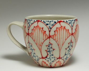 Handmade Wheel Thrown Ceramic  Mug with Red, Melon and Navy Pattern