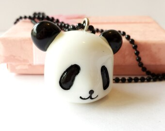 Cute black & white Resin Panda bear head charm pendant necklace Israel Hand made