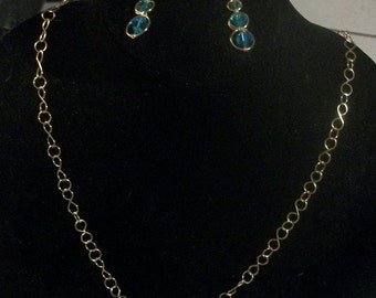 Gold Plated Necklace and Earring Set With Glass Stones