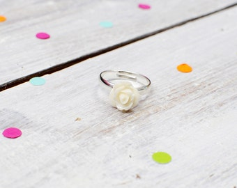 Cream Rose Flower Ring | Adjustable | Nickel Free