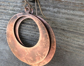 Hammered Copper Earrings: Flat Hoop Antiqued Copper Earrings