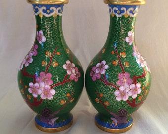 Pair of Green Cloisonne Vases, Cherry Blossoms, Blue Base, Enamel on Brass
