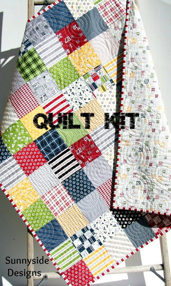 Sports quilt kit varsity sweetwater moda fabrics red blue for Quilt material for boys