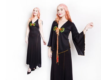 Vintage 1970s Dress - Black Knit Halter Embroidered Maxi Gown Jacket Set - Small
