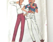 1970s Jeans Pattern Butterick 3109 Womens Straight Leg Pants Denim Corduroy Chino Sewing Pattern Western Details Misses Size 14 Waist 28
