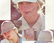 1970s Womens Set of Hats & Ties Newsboy, Brimmed and Fedora McCalls Sewing Pattern 6198 Small Medium and Large Hats Womens Bow Tie
