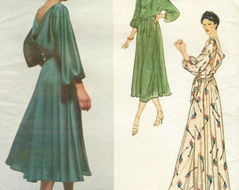 70s Jerry Silverman Womens Draped Evening Gown Vogue Sewing Pattern 2193 Size 10 Bust 32 1/2 Vintage Vogue American Designer