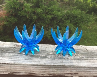 Candle Holder Blue Candle Stick Holders Pair of Candle Holders Cobalt Blue Taper Candle Holders