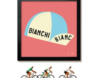 Cycling Art, Gift for Cyclist, Bianchi, Fausto Coppi, Cycling Cap, Art Print