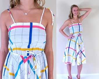 vtg 80s white COLORFUL PLAID full skirt Sun DRESS xs/s tie belt pink yellow blue boho retro indie