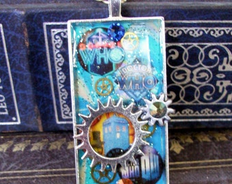 Doctor Who Necklace (N515) - TARDIS Pendant - Gears and Rhinestones - Collage Image under Resin - Silverplated Tray and Chain