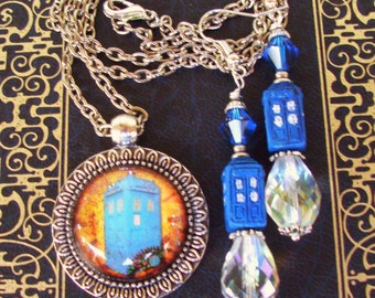TARDIS Earrings and Necklace Set (E502) - Doctor Who Dangle Drop Earrings and TARDIS Pendant - Silver Hardware